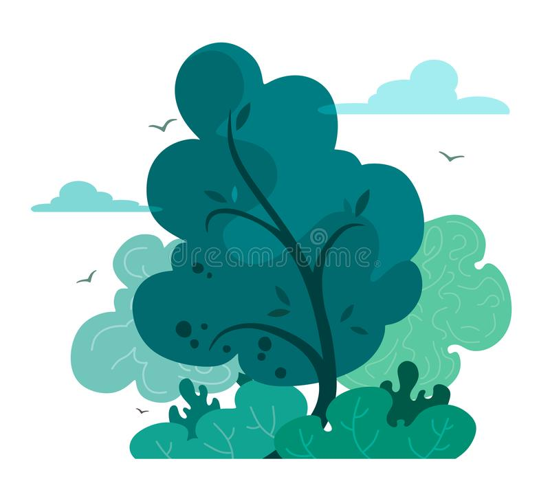 Magic and fairy forest in cartoon style. Vector tree isolate on white background. Forest or outdoor park. Magic and fairy forest in cartoon style. Vector tree vector illustration