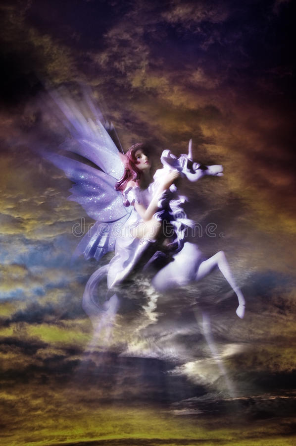 Magic fairy in skies royalty free stock images