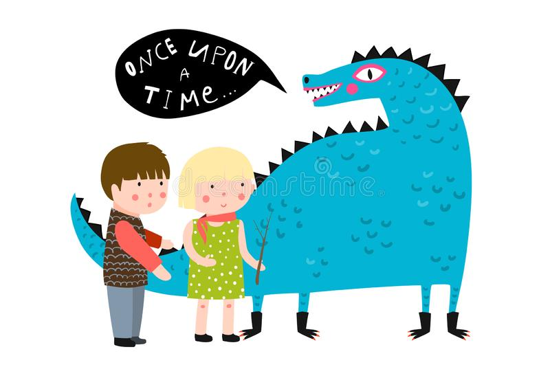 Magic Fairy Tale Dragon and Kids stock illustration
