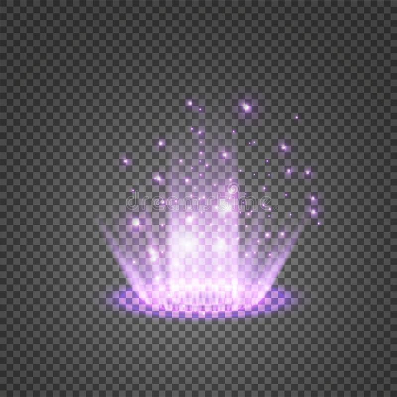 Magic fantasy portal. Futuristic teleport. Light effect. Blue candles rays of a night scene with sparks on a transparent. Background. Empty light effect of the royalty free illustration