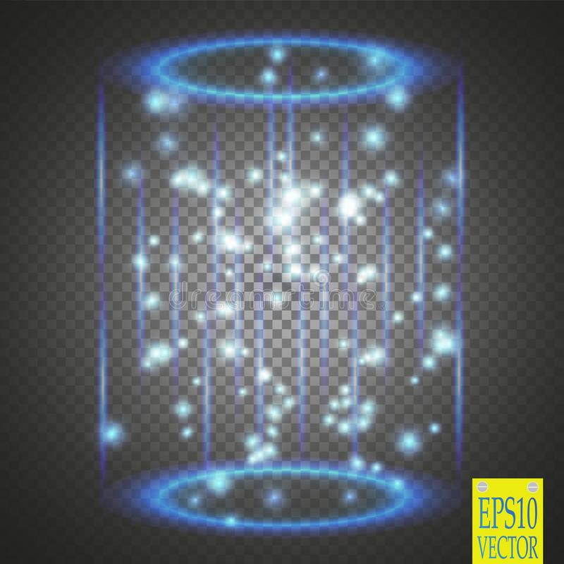 Magic fantasy portal. Futuristic teleport. Light effect. Blue candles rays of a night scene with sparks on a transparent background. Empty light effect of the vector illustration
