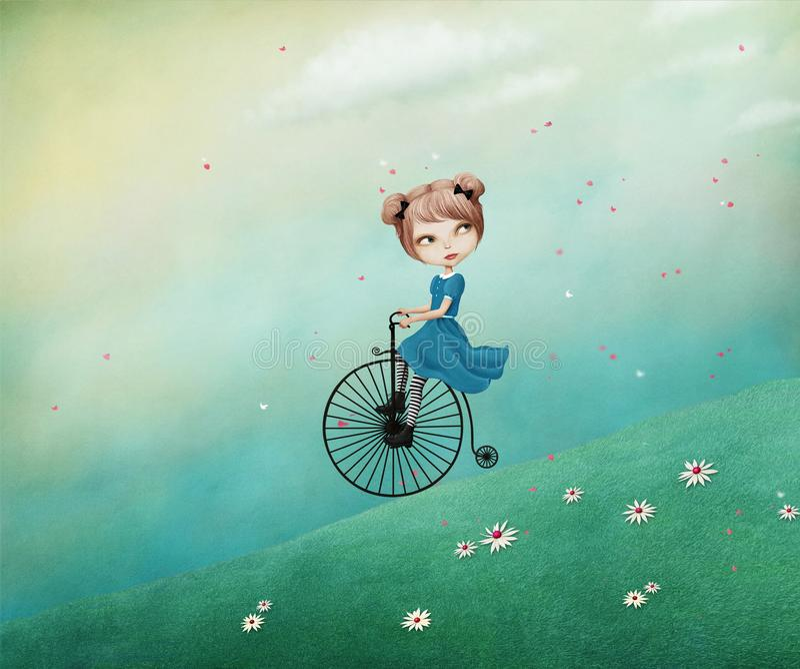 Girl on bike. Magic fantasy Spring illustration with girl riding bike. Computer graphics stock illustration