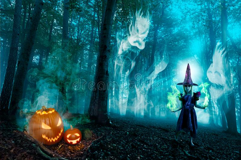 Halloween Forest Spirits And Witch royalty free stock photos