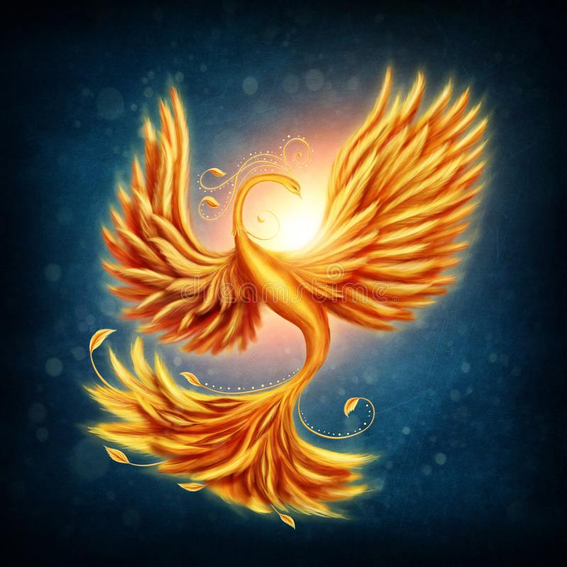 Magic firebird. On a blue background vector illustration