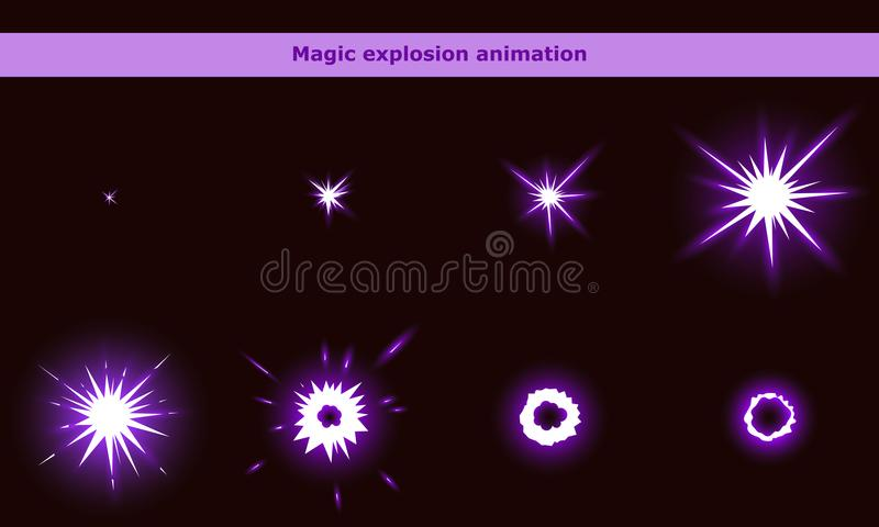 Magic flash animation frames for cartoon game stock illustration