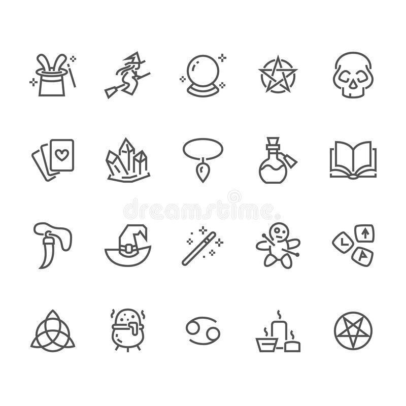 Magic flat line icons. Witch flying flying on broomstick, fortune teller, magician, wizard wand illustration. Wicca stock illustration