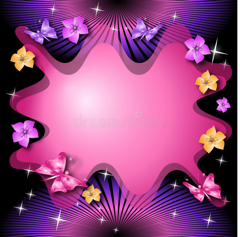 Magic floral background with butterflies stock illustration
