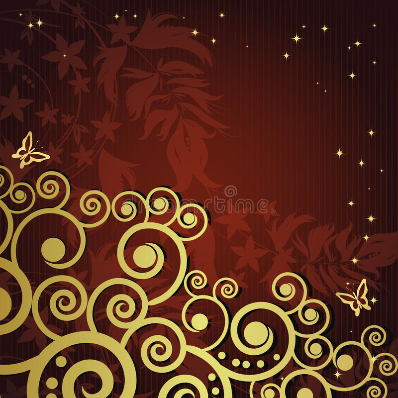 Magic floral background with golden curles. stock illustration