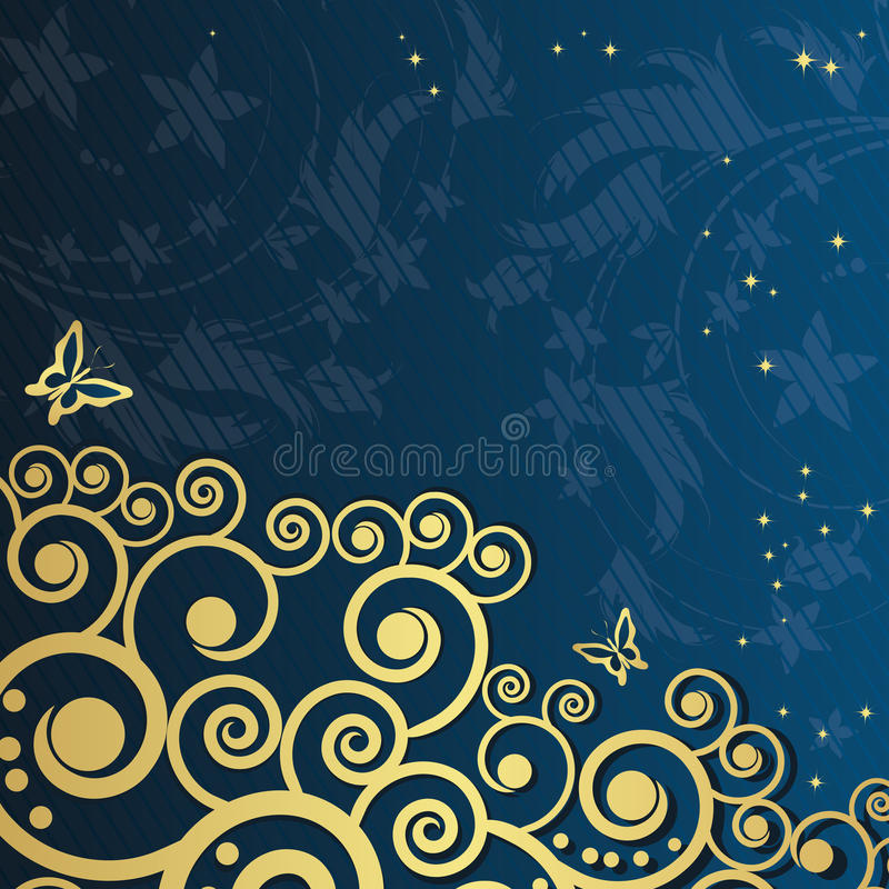 Free Magic Floral Background With Golden Curles. Royalty Free Stock Photography - 12799437