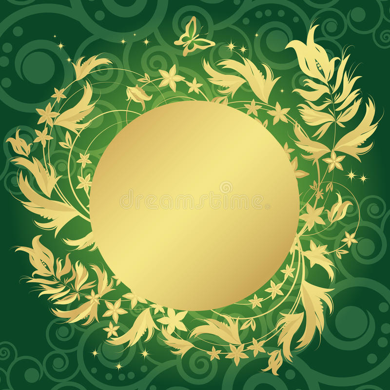 Free Magic Floral Background With Golden Curles. Royalty Free Stock Images - 12818009