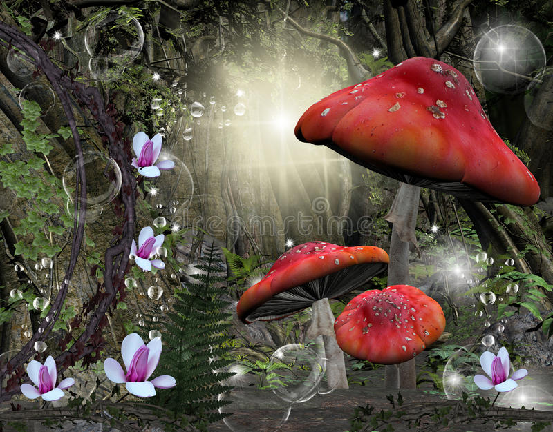 Magic forest. A wonderful illustration: a mysterious place in the middle of the forest with mushrooms, magnolia flowers, ferns and an enchanted atmosphere vector illustration