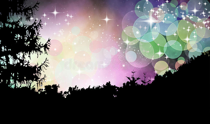 Magic forest. Abstract illustration of moravian forest in magical sky vector illustration