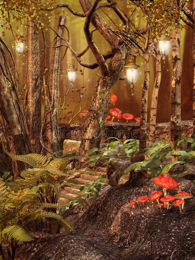 Magic forest with lamps stock illustration