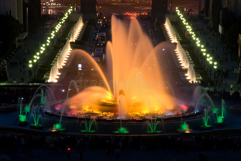 Magic fountain in Barcelona royalty free stock photography