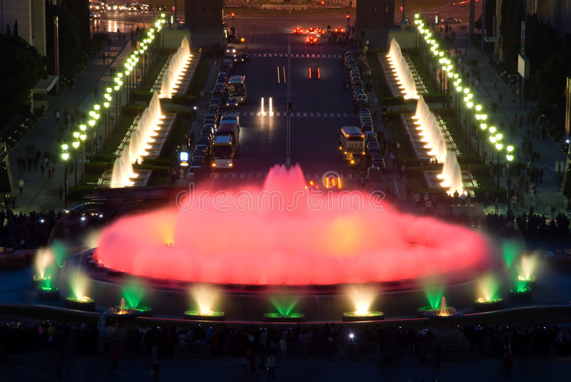 Magic fountain in Barcelona. Detail of Magic fountain in Barcelona royalty free stock images