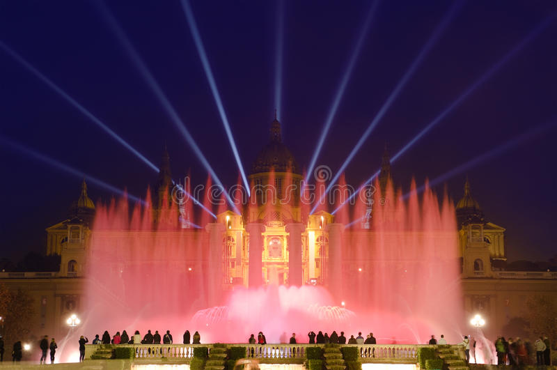 Magic Fountain By Night In Barcelona, Spain