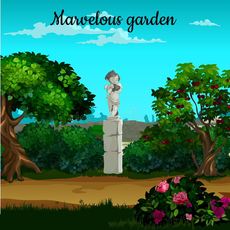 Magic garden with blooming trees, flowers and statue vector illustration