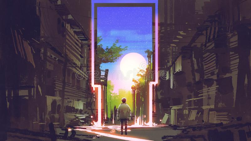 The magic gate to beautiful place. Young boy standing in abandoned city looking at the magic gate with beautiful place, digital art style, illustration painting royalty free illustration