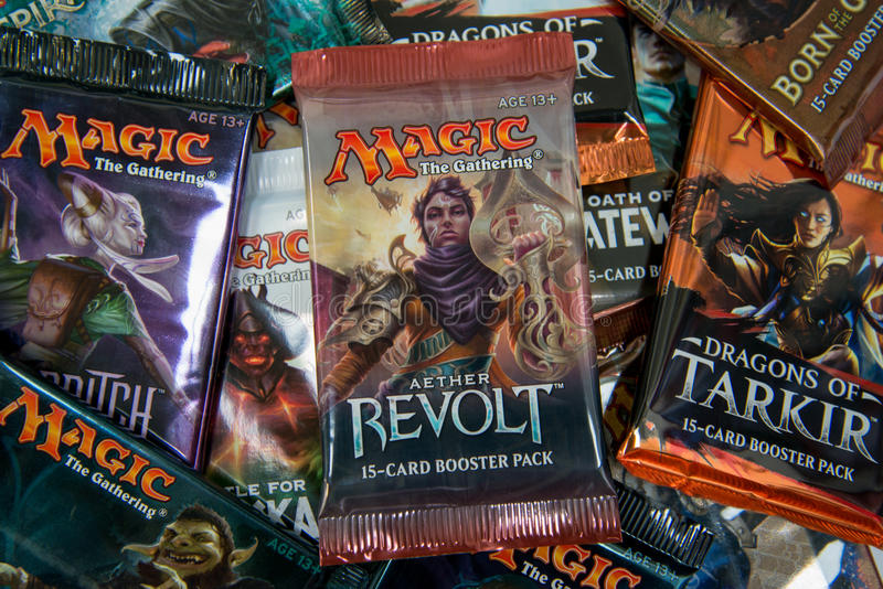 Magic the Gathering Booster packs stock image