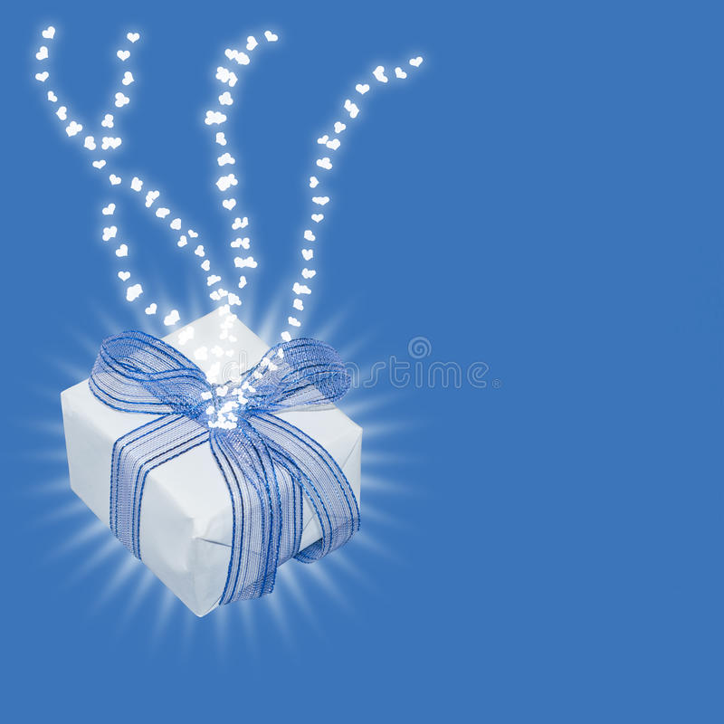 Download Magic Gift With Light Rays And Heart Trails Stock Illustration - Image: 28084539