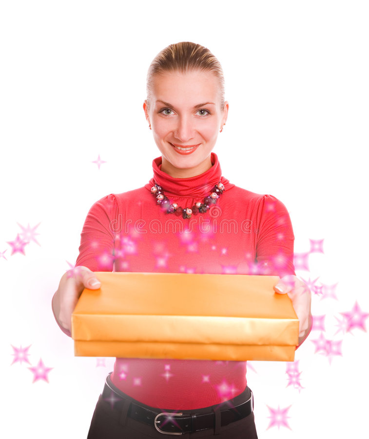 Magic girl. Picture of a Beautiful blond girl with a magic gift box stock photography