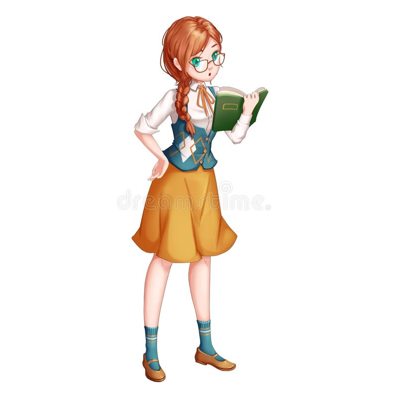 Magic Girl with Anime and Cartoon Style. Video Game`s Digital CG Artwork, Concept Illustration, Realistic Cartoon Style Character Design royalty free illustration