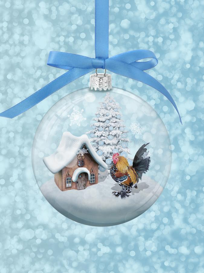 Magic glass bulb with a beautiful standing near tiny house and Christmas tree stock images