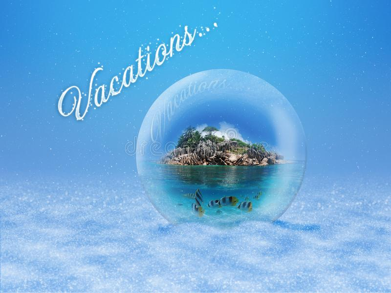 Magic glass bulb with a beautiful tropic island royalty free stock images