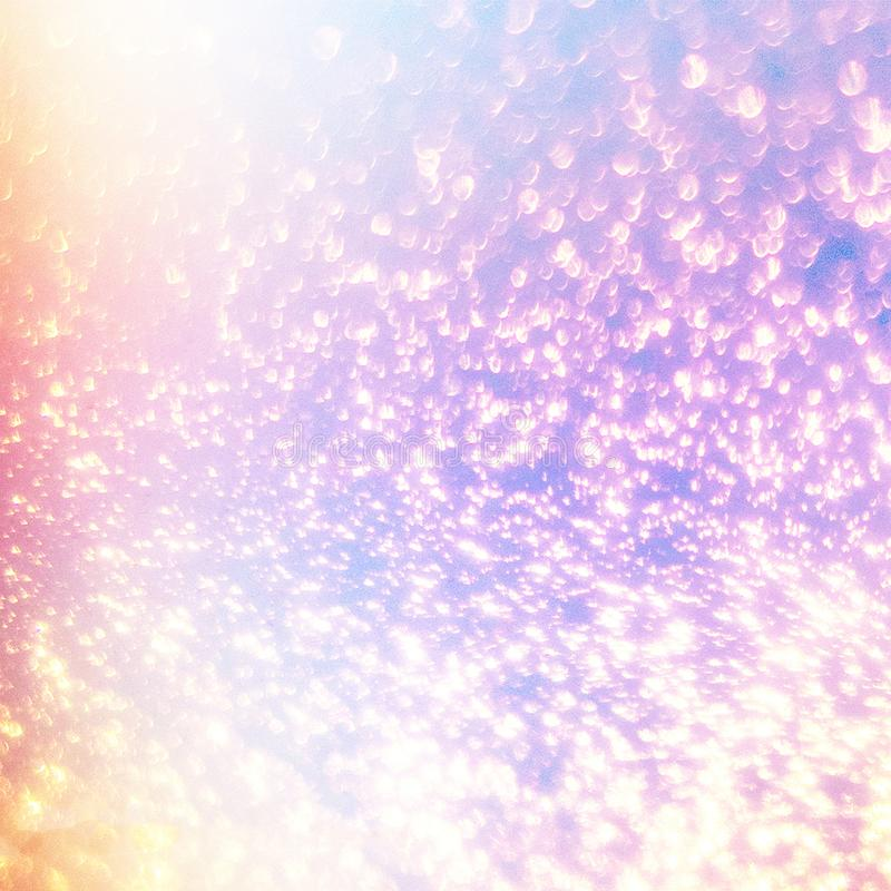 Magic glowing background with rainbow mesh. Fantasy unicorn grad. Ient backdrop with fairy sparkles, blurs, glittering lights and stars royalty free stock images