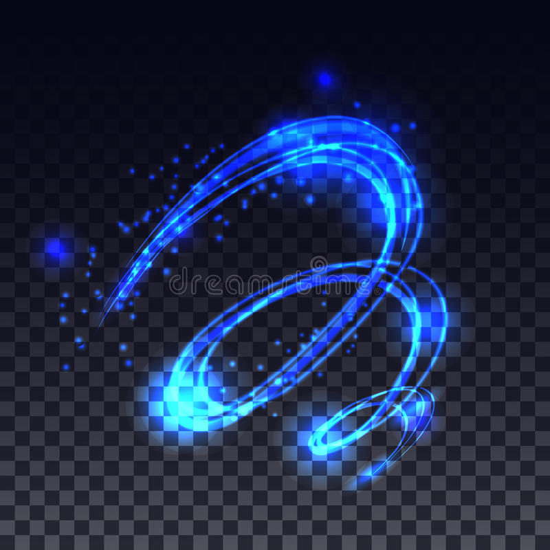Magic glowing light swirl trail effect on transparent background. vector illustration