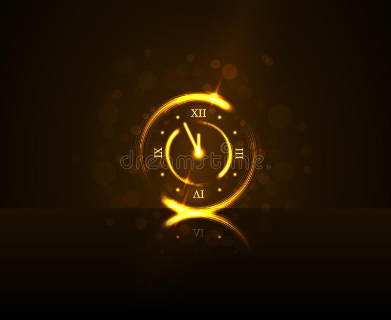 Magic gold clock countdown five minute time. Happy New Year background. Golden decoration for Christmas card, greeting vector illustration