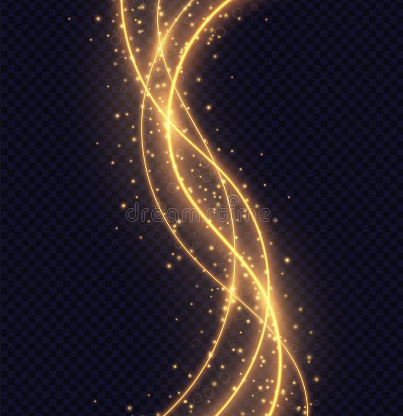 Magic golden wave light effect isolated on transparent background. royalty free illustration