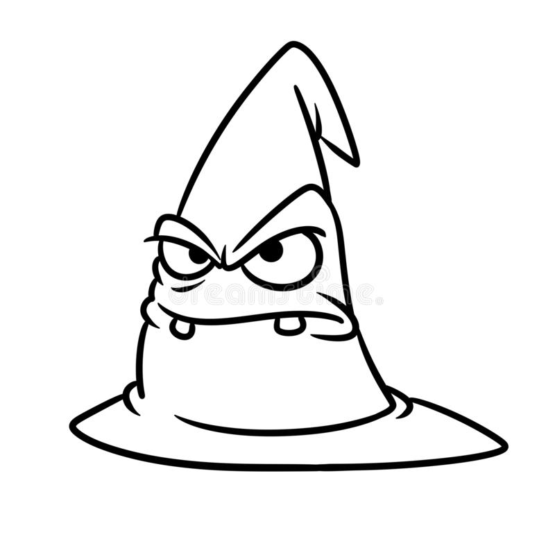 Magic gray hat angry face emotions character cartoon illustration coloring page stock photography