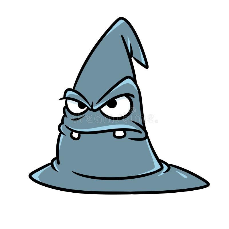 Magic gray hat angry face emotions character cartoon illustration stock photos