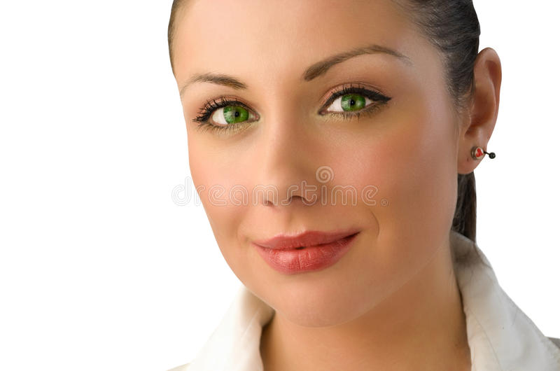 Magic green eyes businesswoman portrait royalty free stock images