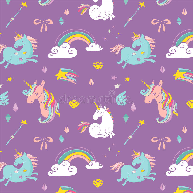 Magic hand drawn pattern - unicorn and fairy royalty free illustration
