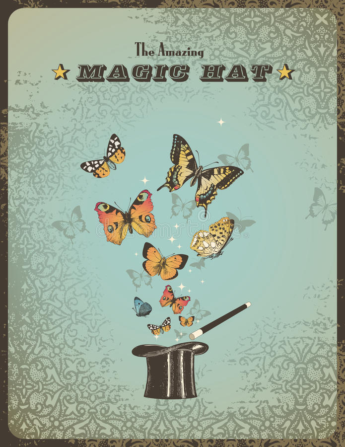 Magic hat. Vintage magic placard with magic hat, wand and butterflies