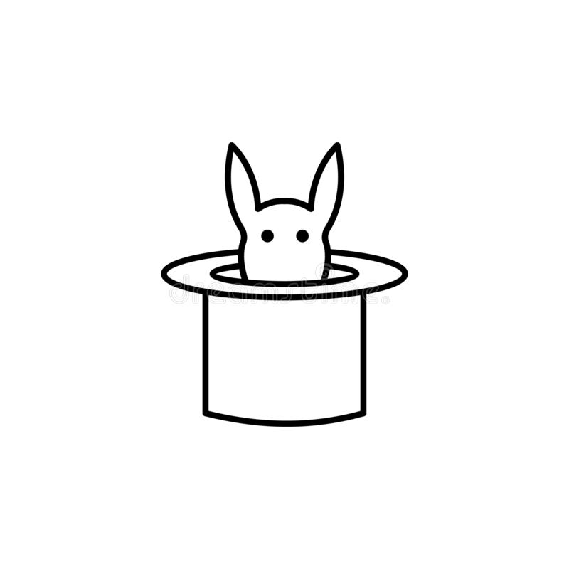 Magic hat with animal outline icon. Signs and symbols can be used for web, logo, mobile app, UI, UX. On white background royalty free illustration