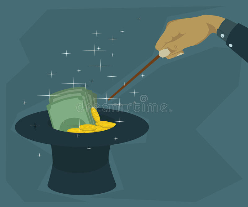 Magic hat can spend a lot of money. Hand held wand dam spend a lot of money into the hat vector illustration