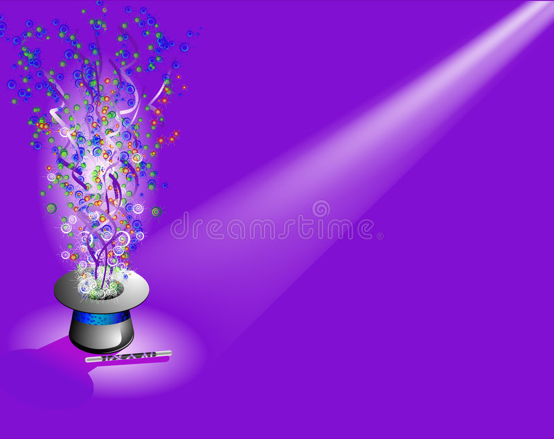 Magic hat with light. Magic hat and place for the text. Vector illustration royalty free illustration
