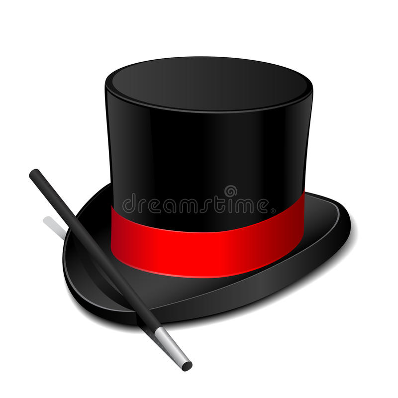 Magic Hat With Magic Wand Royalty Free Stock Photography