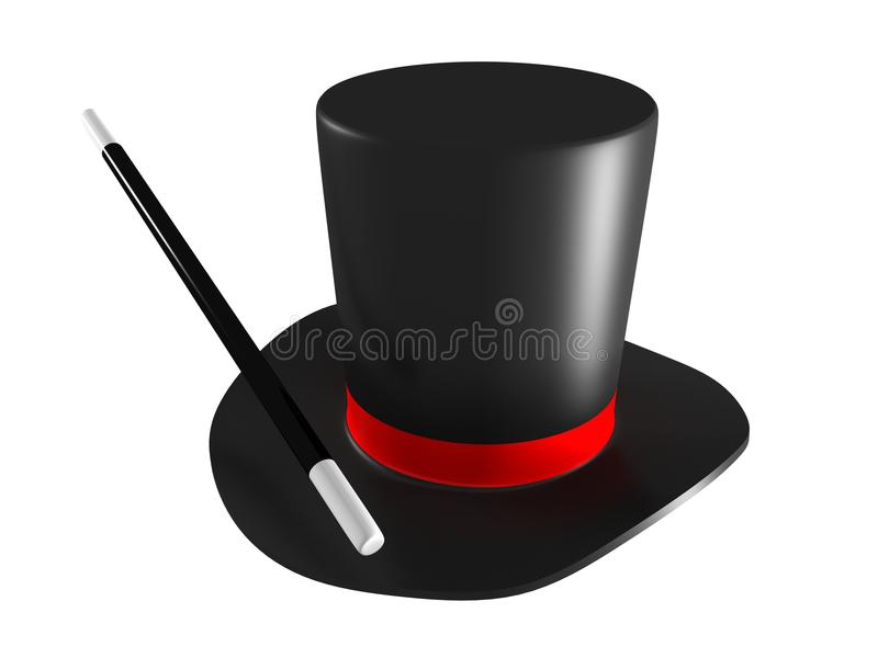 Download Magic Hat And Magic Wand Isolated On White Backgro Stock Illustration - Image: 20430168