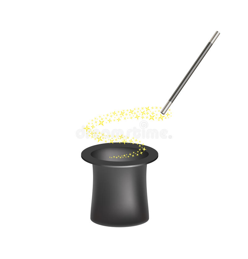 Magic hat and magic wand with a stream of stars stock illustration