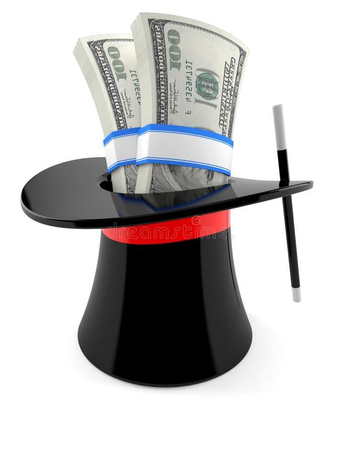 Magic hat with money royalty free illustration