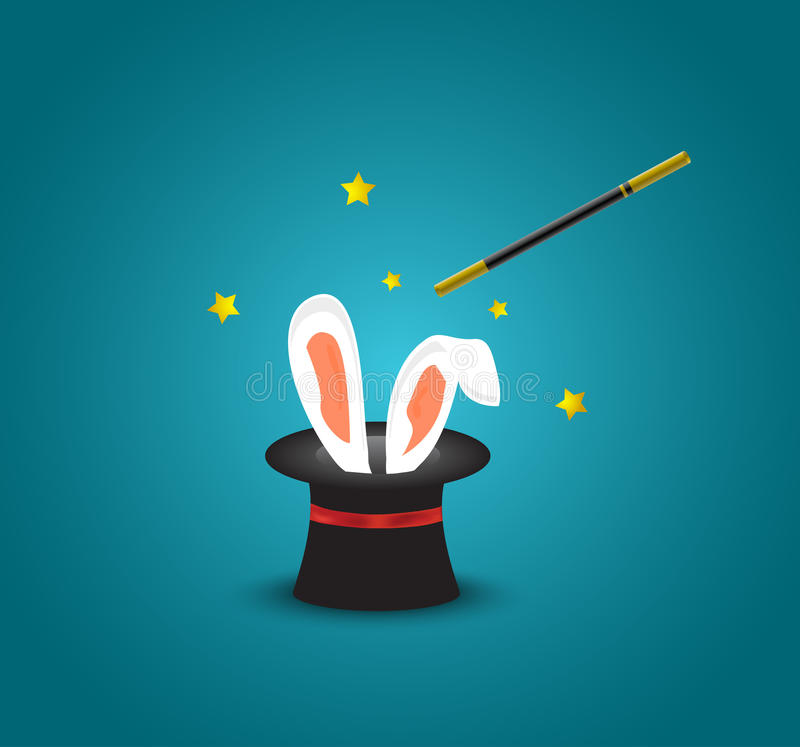 Magic hat with rabbit ears.Magic trick with rabbit ears appear from the magic top hat. Sample stock illustration