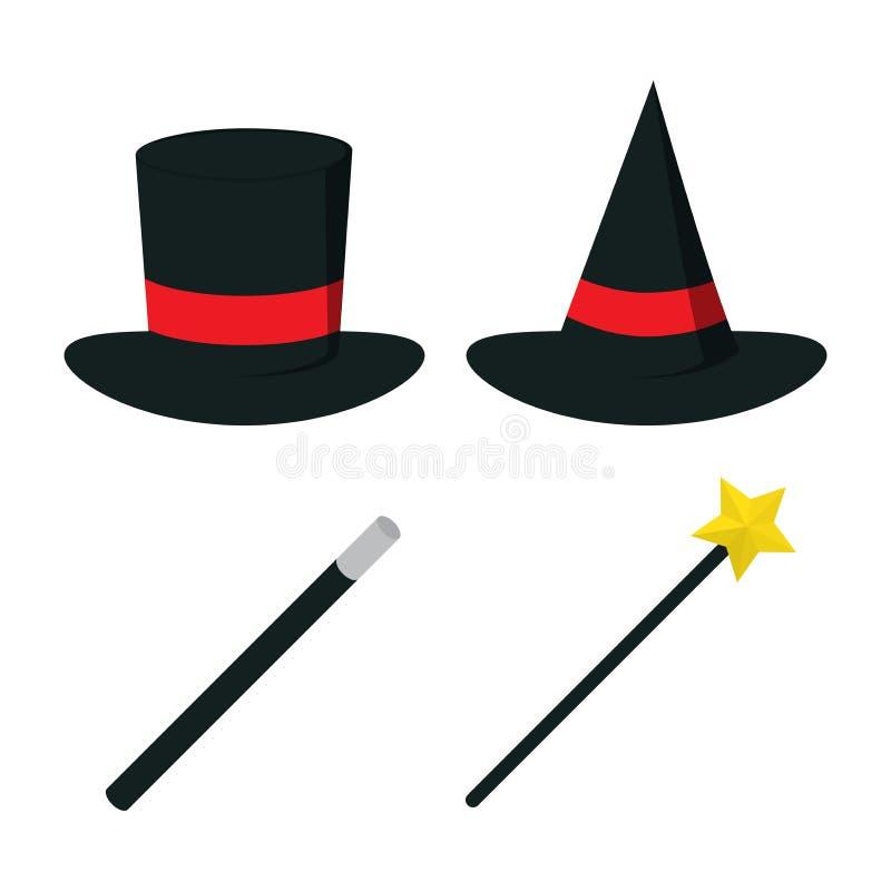 Magic hat vector with magic wand, vector illustration, icon set stock illustration