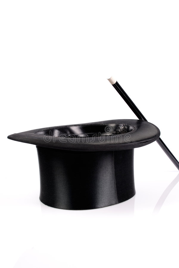 Magic hat and wand stock images