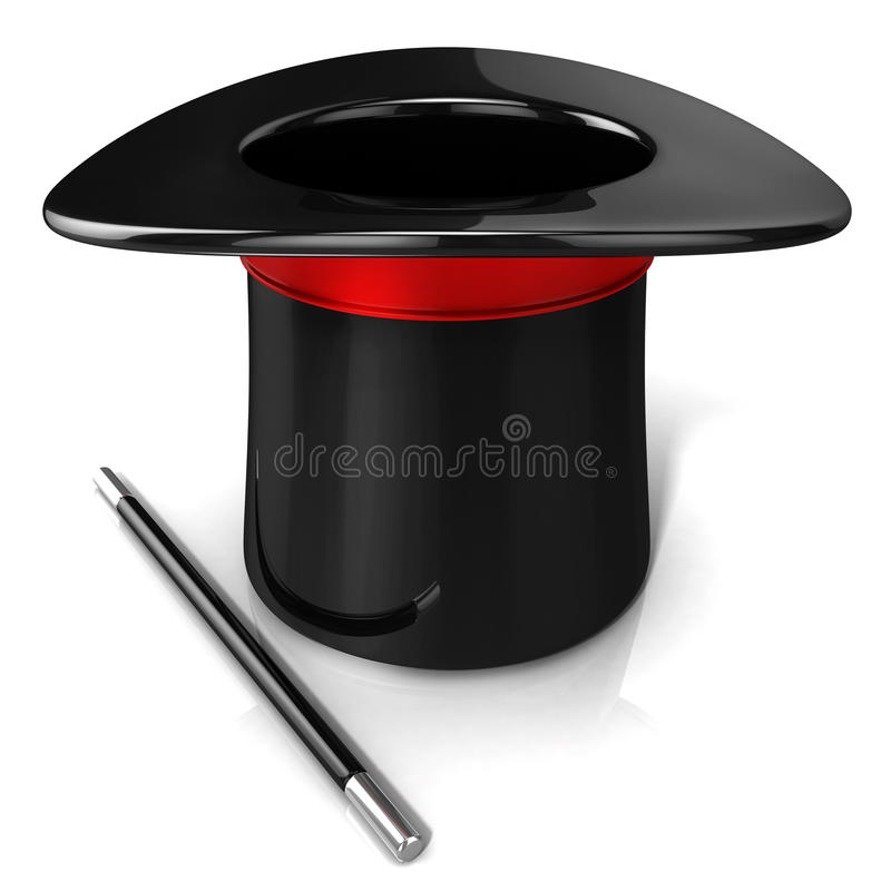 Magic hat and wand, 3D render vector illustration