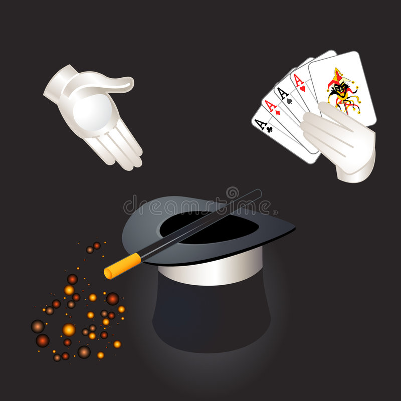 Download Magic hat, wand and hands stock vector. Illustration of illusion - 4954813