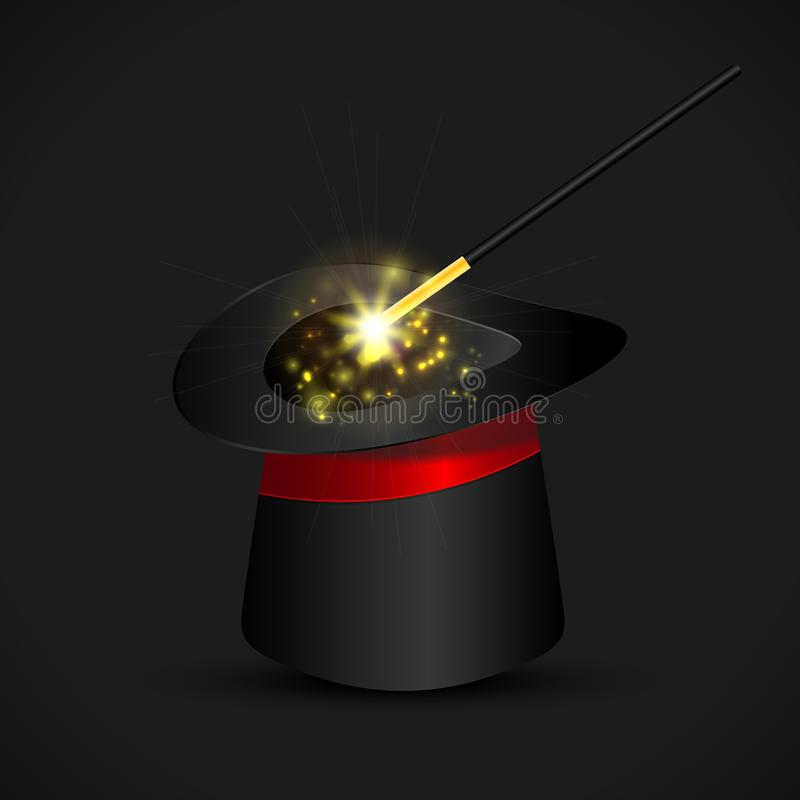 Magic hat and wand with sparkles, magical glow. Vector royalty free stock images
